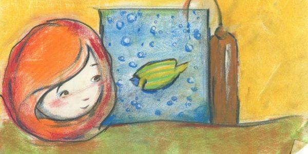 Illustrazione, bambina, pesce